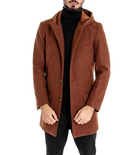 Giosal - Abrigo para Hombre con Capucha, Chaqueta, Tabaco, Color Liso, Corte clásico, Informal Tabaco 42