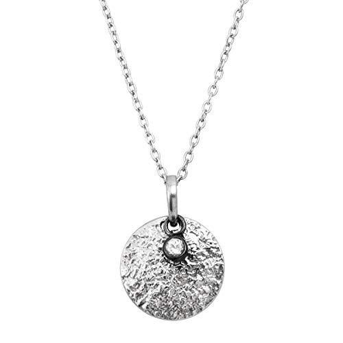 Silpada 'Mini Crystal Disc' Pendant Necklace with Natural White Topaz in Sterling Silver, 18