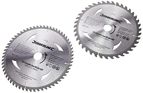 Silverline 991704 Hartmetall-Kreissägeblätter mit 40 und 60 Zähnen, 2er-Pckg 250 x 30, Reduzierstücke: 25, 20 u. 16 mm - 3