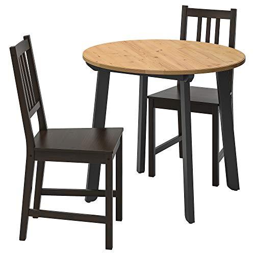 GAMLARED/STEFAN mesa y 2 sillas Ø85 cm claro color antiguo/marrón-negro