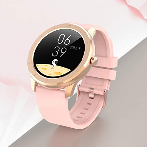 Full Touch Round Screen Smart Watch, IP68 Waterproof Blood Pressure Oxygen Smartwatch, Sports Smart Watch for Android iOS Fitness, Tracker Heart Rate Monitor for Women(Pink)