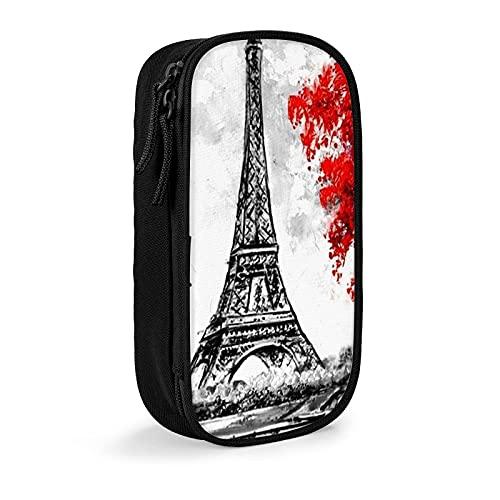 Estuche para lápices de pintura al óleo París Francia Torre Eiffel con cremallera, estuche organizador portátil para la escuela, oficina, adolescentes y niñas