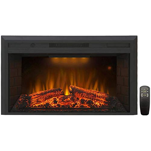 Valuxhome Electric Fireplace, Electric Fireplace Heater Insert with Overheating Protection, 36 Inches Wide 21 Inches High with Fire Crackling Sound, Remote Control, 750/1500W, Black