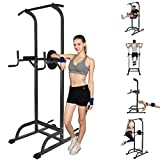 Power Tower Dip Station, Mosunx Workout Equipment Heavy Duty Gym Power Multi-Function Dip Stand Pull up Chin Up Home Strength Training Tower (58.8-89 Inch Adjustable, Black)