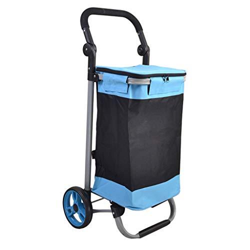 Tubería de Acero Carro de la Compra Plegable Carretilla de 17 CM Rueda de rodamiento Compras Tienda de la Compra Carro de la Compra Pequeño Marco Plano 45 * 33 * 92 CM (Color : Blue)