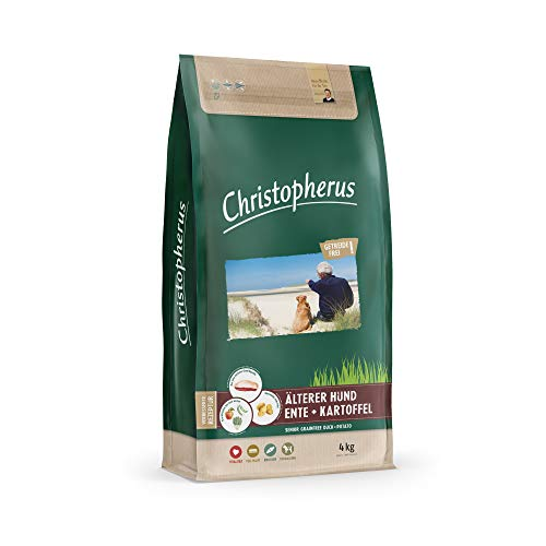 Christopherus Grainfree Senior, Vollnahrung für futtersensible Hunde ab dem 6. Jahr, Trockenfutter, Ente + Kartoffel, Krokettengröße ca. 1 cm, Älterer Hund, 4 kg