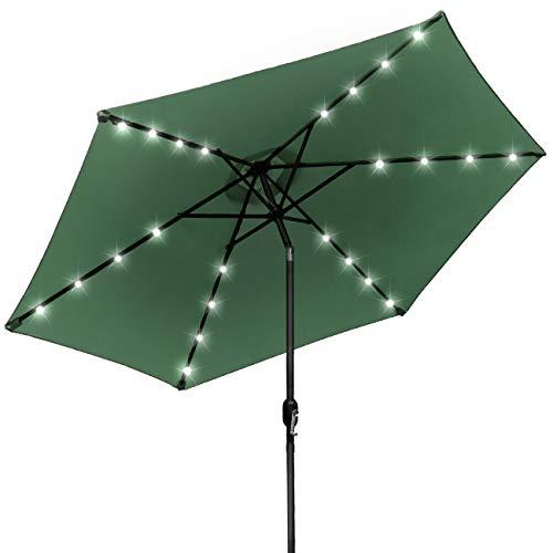 Sorbus LED Outdoor Umbrella, 10 ft Patio Umbrella LED Solar Power, with Tilt Adjustment, Turn Crank Clockwise When Opening Umbrella, Always Close Umbrella When Not in Use (Solar LED - Orange)