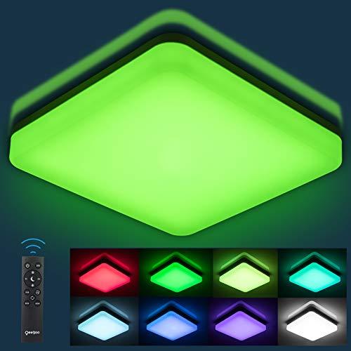 RGB LED Deckenleuchte Dimmbar, Oeegoo 24W LED Deckenlampe Mit Fernbedienung, Flimmerfreie LED Lampe RGB Farbwechsel, Mit IP54 Als Badezimmerlampe Wohnzimmerlampe kinderzimmerlampe Flurlampe 28*28*4.8