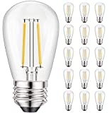 Svater 15 Pack S14 Replacement Bulb for Outdoor String Light,Dimmable 2W Led Glass,Vintage Edison Lightbulb,Warm White 2700K, E26 Base,IP65 Waterproof