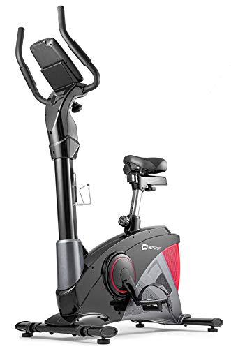 Hop-Sport Heimtrainer Fahrrad HS-090H inkl. Unterlegmatte - Ergometer mit App-Steuerung, 12 Trainingsprogrammen, 32 computergesteuerten Widerstandsstufen - Fitnessbike max. Nutzergewicht 150 kg Rot