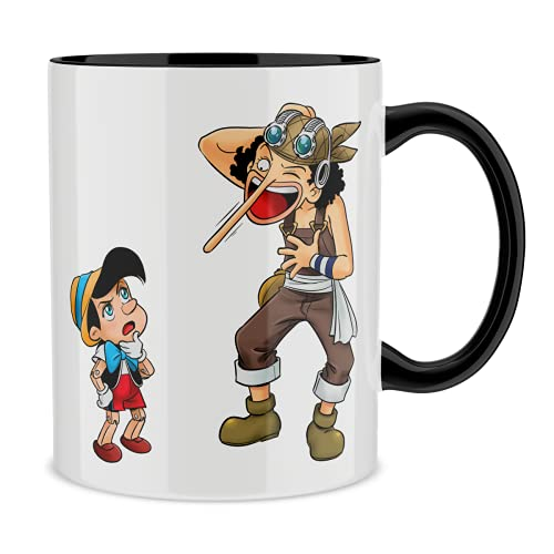 Okiwoki Mug avec Anse et intérieur de Couleur (Noir) - Parodie One Piece - Usopp - Traduction (Mug de qualité supérieure - imprimé en France)