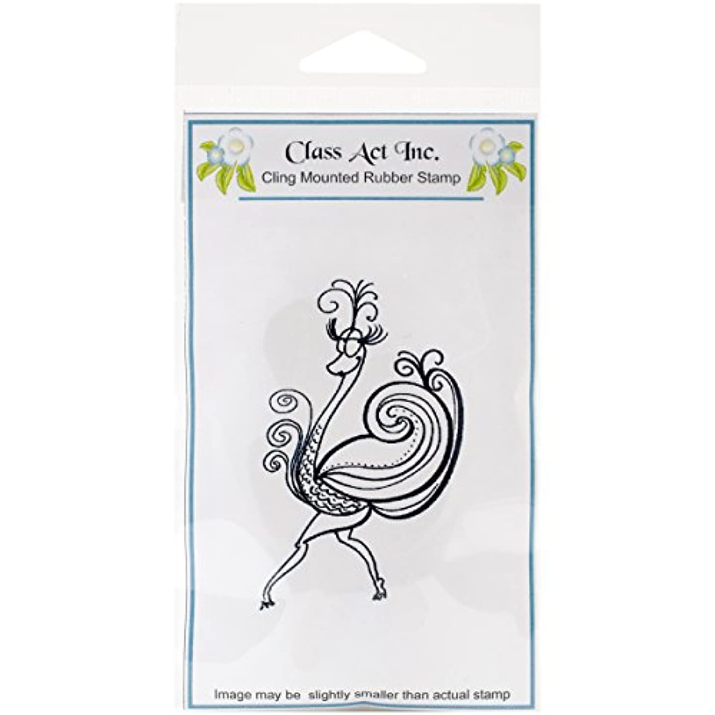 Class Act Cling Mounted Rubber Stamp, 3.25 by 5.5-Inch, Attitude Ostrich