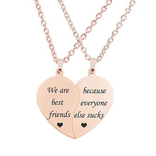 MJartoria BFF Necklace for 2-Split Valentine Heart Necklace Together Forever Never Apart Best Friends Pendant Friendship Necklace Set of 2 Gifts for Her (C-BFF-Rose Gold)