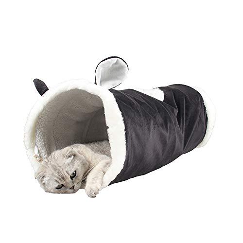 ETbotu Katzentunnel-Spielzeug, Exquisite Folding Cat Tunnel lustige tragbare Pet Toy Nest für Katze Hund Kleintierbedarf Schwarze Katze Einheitsgröße