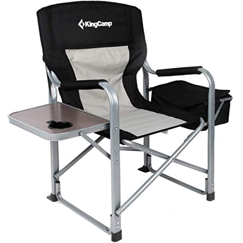 KingCamp Heavy Duty Steel Camping Folding Director Chair with Cooler Bag...