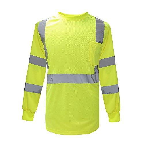 Safety Shirts for Men ANSI Class 3 Hi Vis Long Sleeve Tee Yellow XXL