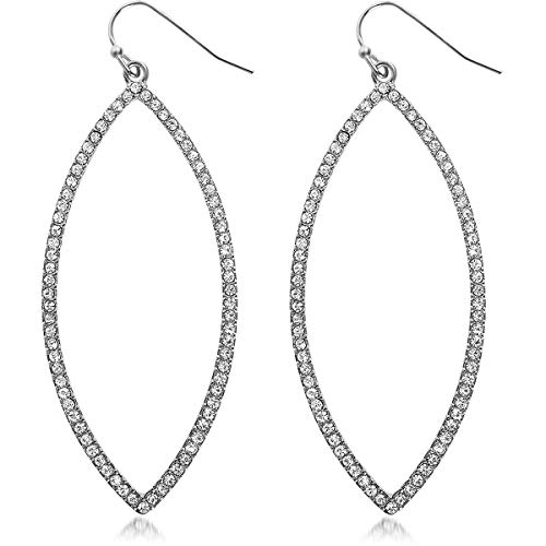 Humble Chic Hoop Dangle Earrings - Simulated Diamond Marquise Teardrop Statement Rhinestone Drops, Marquise - Silver-Tone, Metallic White, Clear