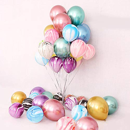 50 Pieces 12inch Chrome Shiny Metallic Latex Balloons and 10Inch Agate Balloons for Birthday Wedding Grad Theme Party (Colorful)