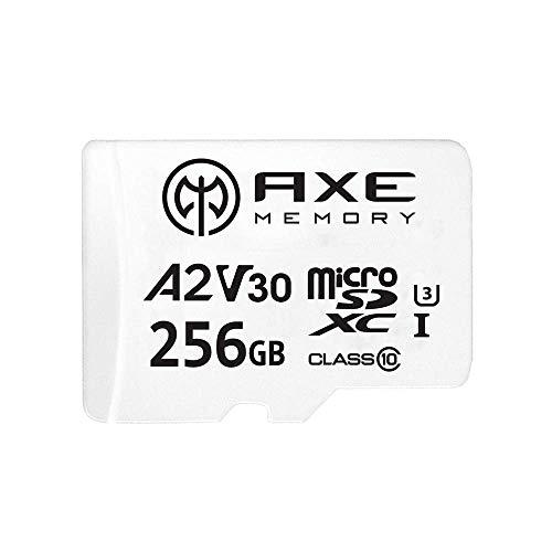 AXE Tarjeta de memoria microSDXC de 256 GB + adaptador SD con rendimiento de aplicación A2, V30 UHS-I U3 4K Class 10 - AXS2A256