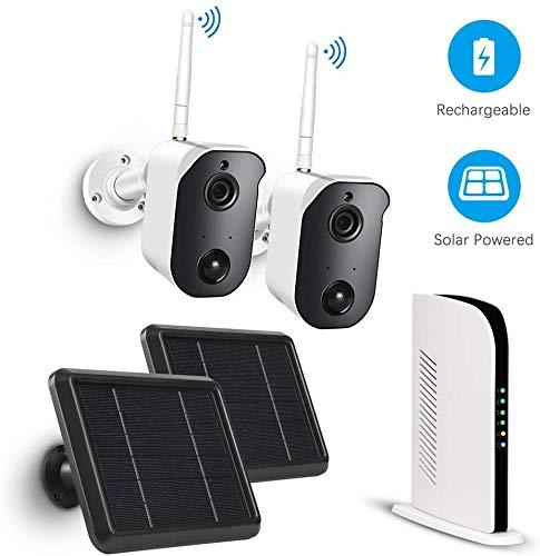TMEZON ソーラー充電式 2ソーラーパネル駆動の充電式 ワイヤレス ホームセキュリティカメラシステム ナイトビジョン 屋内/屋外 1080P 双方向通話 壁マウントクラウドストレージ付属 2カメラキット PIRモーションセンサー 日本語取扱説明書付き