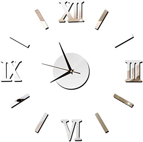 HarmonyHappy - Reloj de pared moderno 3D con superficie de espejo grande para decoración de hogar, oficina, habitación (plata)