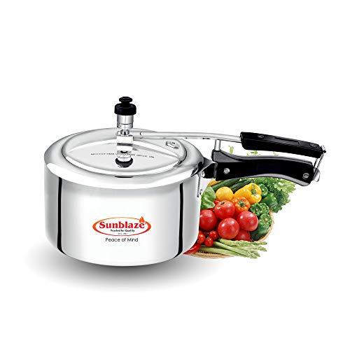 Sunblaze Secura Induction Base Anti-Bulging Fuel Efficient Base Best Aluminium Heavy Pressure Cooker with Inner Lid Silver 1 Litre 5 Years Warranty Free Home Service