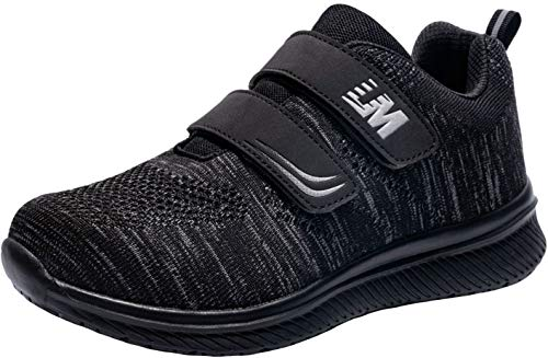 LARNMERN Mens Womens Steel Toe Work Shoes,Knit Breathable Lightweight Safety Shoes Hook&Loop(Black Black,10)