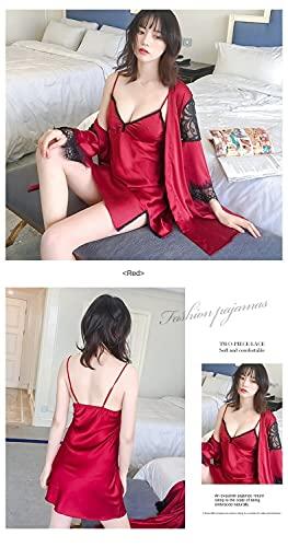 Pijama Pijamas De Verano para Mujer, Cómodo, Informal, Camisón, Camisón, 2 Piezas, Conjuntos De Seda, Camisón Sexy con Cuello En V, Ropa para El Hogar, L Negro