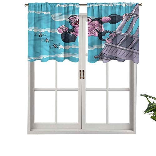 Hiiiman Premium Rod Pocket Valance Curtain Panel Furious King Kong Gorilla, Set of 2, 54'x36' for Indoor Decoration