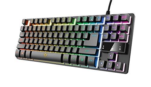 Trust Tastiera Gaming GXT 833 Thado, in Metallo con illuminazione LED Multicolore, Layout Italiano QWERTY, Design Compatto TKL (più piccolo del 20%), Anti-Ghosting, USB Plug & Play, PC/Computer