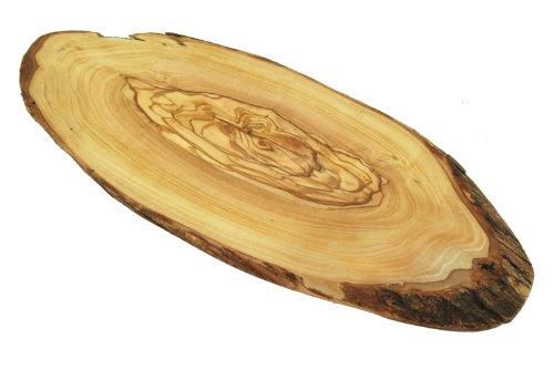 D.O.M. Die Olivenholz Manufaktur D.O.M. Tagliere Rustico in Legno d'ulivo, Taglio Naturale, 30-40 cm