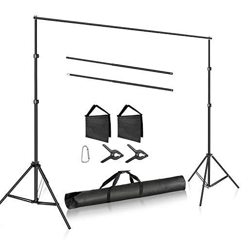 Neewer Foto Estudio Ajustable Barra Transversal Ancho 3 Metros Sistema Soporte De Fondo Soporte Fondo Alto 2 Metros Con 2 Abrazaderas Fondo, 2 Bolsas Arena Y Bolsa Transporte