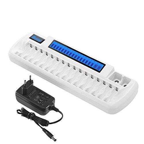 BONAI Akku Ladegerät 16+2 Ladeschächten Universal Batterieladegerät für Akkus AA/AAA NI-MH NI-CD, 9Volt Block NI-MH NI-CD Li-ionen Wiederaufladbare Batterien mit AC-Ladekabel