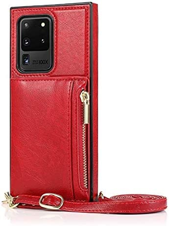 Case for Samsung Galaxy S20 Ultra, Zipper Wallet Case with Credit Card Holder/Crossbody Long Lanyard, Shockproof Leather TPU Case Cover for Samsung Galaxy S20 Ultra (Color : Red)
