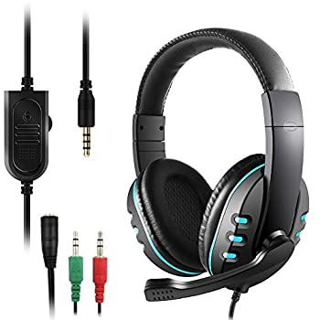 3.5mm Gaming Headset DaKuan Over Ear Noise Isolating Headphone with Mic and Volume Control,Compatible with Laptop PC PS4 Xbox One Controller Bonus with Extra 3.5mm Adapter