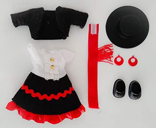 Folk Artesanía Vestido y complementos Regional típico Andaluza Cordobesa o Flamenca con Sombrero muñeca Barriguitas de Famosa. Muñeca no incluida en el Lote.