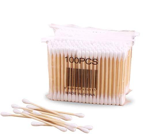 Benrise Lot de 5 cotons-tiges à double tête en bambou avec poignées en bois pour le maquillage, le nettoyage des oreilles, le nettoyage des plaies, l'outil cosmétique
