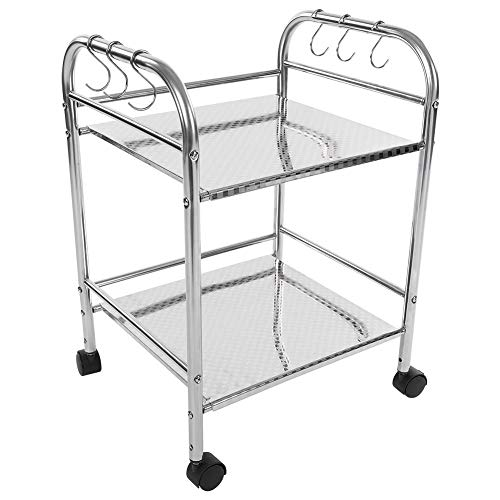 Serving Trolley,2-Tier Shelving Unit Stainless Steel Detachable Catering Trolley Serving Trolley Clearing Rolling Trolley Kitchen Shelf Cart Storage Rack Organizer Storage Holder Shelf, 53x50x35cm