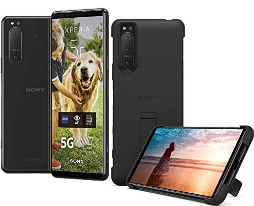 Sony Xperia 5 II 5G Smartphone (15,5 cm (6.1 Zoll) 21:9 CinemaWide FHD+ HDR OLED-Display, Dreifach-Kamera-System, Android 10, SIM Free, 8 GB RAM, 128 GB Speicher) inkl. Case Schwarz, XQAS52C0B-AMA.YD