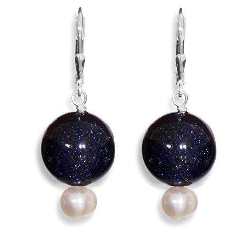 ERCE Blaufluss - Süßwasserperlen Ohrringe, 925 Silber