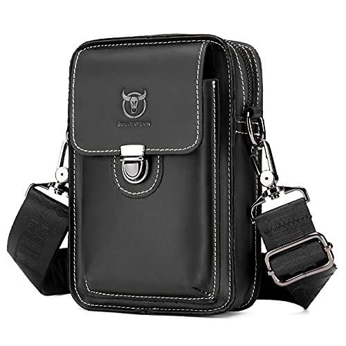 UBORSE Bolso de la cintura del cuero genuino pequeño ocasional del mensajero de la bolsa de la cintura para los hombres Bum Bag Vintage