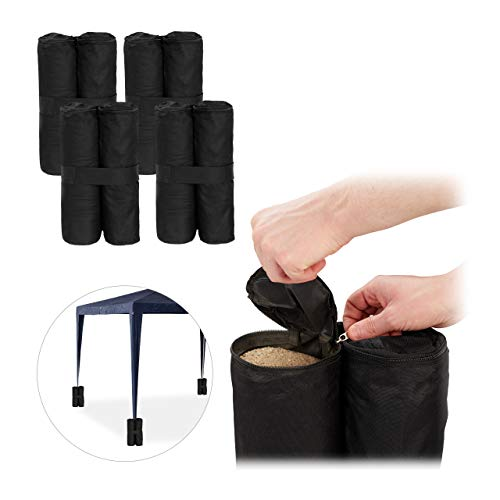 Relaxdays, Black Gazebo, Pack of 4, Outdoor Weight Bags, Fillable with Sand & Gravel, Tent Anchor, 10 kg per Leg