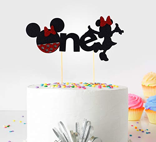 Decoración para tarta de primer cumpleaños Small (Minnie Mickey Mouse) - One - With Double Sided Glitter Stock