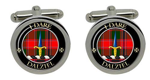 Hommes - Boutons de manchette cimier clan écossais Dalziel avec boîte cadeau chromée