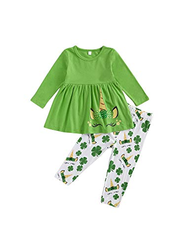 Kids Toddler Baby Girl St Patrick 's Day Clothes Set Clover Unicorn Sweatshirt T-Shirt Tops with Pants 2Pcs Spring Outfit (Unicorn and Clover, 2-3 Years) …
