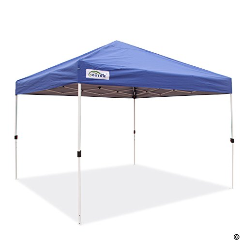 Goutime 10x10Ft (3m*3m) Ez Pop Up Canopy Tent Gazebo Marquee Commercial Tents Portable Foldable Instant Shelter with Wheeled Carry Bag, Events Beach Market Waterproof (Blue)