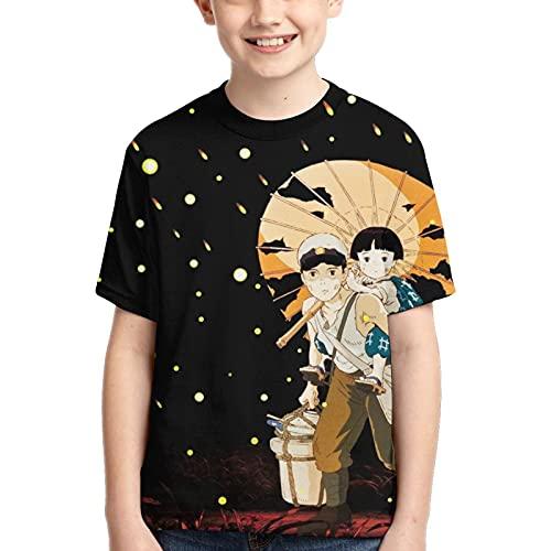 Hijingtt Grave of the Fireflies Boy T-Shirt, Schwarz , M