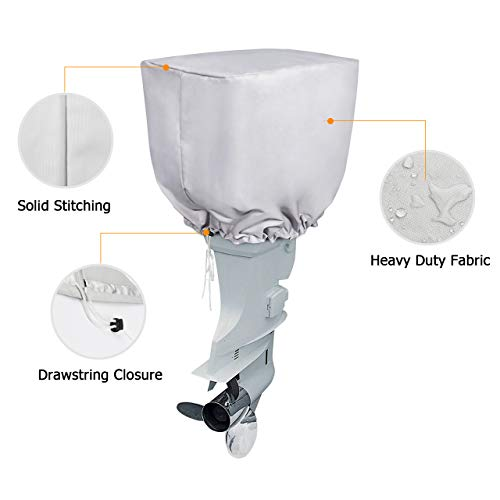 """iCOVER Outboard Motor Cover Heavy Duty 600D Waterproof Motor Hood Cover, 23"""" DX13.5 WX16.5 H"""