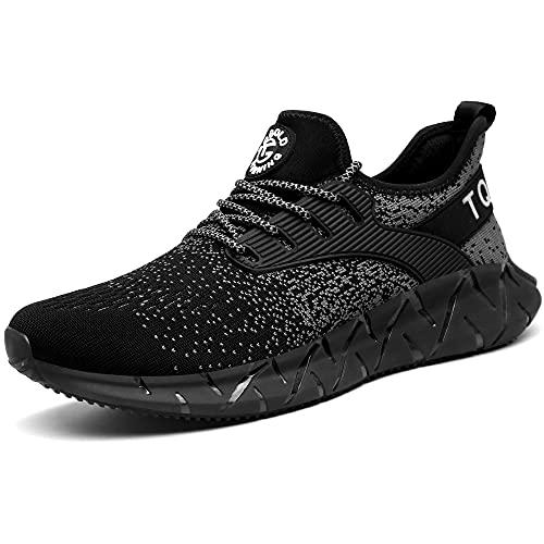 AONETIGER Zapatillas Deporte Hombre Mujer Deportivas Zapatillas de Trail Running Ligero Fitness Gym Zapatos para Casual Gimnasio Correr Sneakers Athletic Transpirables(Talla 39EU, Negro)