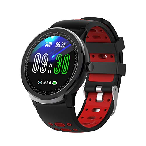 NORTH EDGE Smartwatch Android iOS Bluetooth Touchscreen hartslagmonitor bloeddrukmeting informatie anti-Lost stappenteller oproepherinnering slaaptracker, Einstellbar, rood